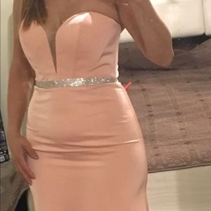 A strapless dress